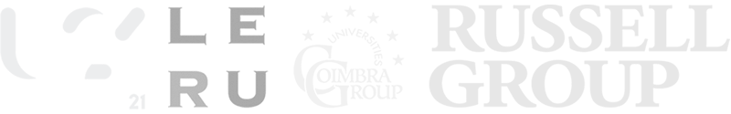 Logos of University affiliations, inc. Universitas 21, Coimbra Group Universities, The Russell Group